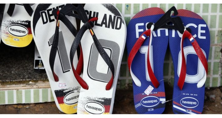 Pairs of flip-flops are seen for sale at a store in Ribeirao Preto