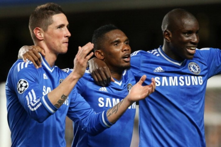 LONDON, ENGLAND - APRIL 08: Fernando Torres, Samuel Eto'o and Demba Ba of Chelsea celebrate victory during the UEFA Champions League quarter final match between Chelsea FC and Paris Saint-Germain FC at Stamford Bridge stadium on April 8, 2014 in London, England, United Kingdom. (Photo by Jean Catuffe/Getty Images)