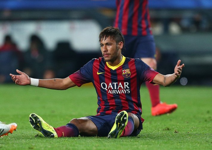 Neymar of Barcelona gestures in frustration after being fouled