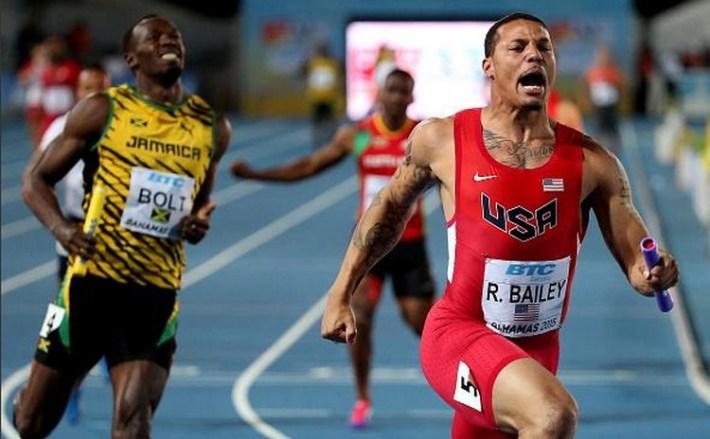Ryan Bailey et les usa battent usain bolt et la jamaique au 4x100