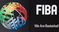 The logo of FIBA is seen on its new headquarters, House of Basketball, in Mies, Switzerland, on June 18, 2013.  AFP PHOTO / BORIS HEGER        (Photo credit should read BORIS HEGER/AFP/Getty Images)