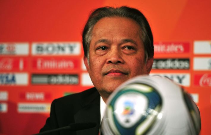 Worawi Makudi, Chairman of the FIFA Committee for Women's Football, attends a press conferece ahead of the final draw for the FIFA Women's World Cup 2011 in Frankfurt am Main, November 29, 2010. World Cup holders Brazil and the other 15 nations competing in next year's finals will learn their first-round opponents during the draw. The women's football world cup will take place from June 26 to July 17, 2011 in Germany.    AFP PHOTO  JOHANNES EISELE