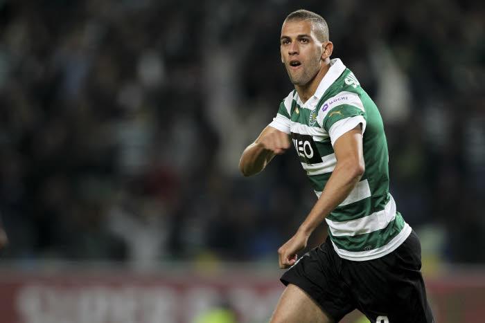 Joie Islam Slimani - 02.11.2013 - Sporting Portugal / Maritimo - 9e journee de Liga Sagres Photo : Vitor Ribeiro / Icon Sport