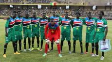 South Sudan's players pose on June 13, 2015 in Bamako during their 2017 African Cup of Nations qualification football match between Mali and South Sudan. AFP PHOTO / HABIBOU KOUYATE