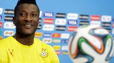 Ghana's Asamoah Gyan attends a news conference before an official training session the day before the group G World Cup soccer match between Ghana and the United States at the Arena das Dunas in Natal, Brazil, Sunday, June 15, 2014.  (AP Photo/Dolores Ochoa)
