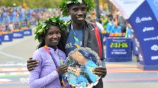 Nov 1, 2015; New York, NY, USA; Stanley Biwott (right) poses with Mary Keitany after winning their divisions during the 2015 TCS New York City Marathon. Mandatory Credit: Derik Hamilton-USA TODAY Sports