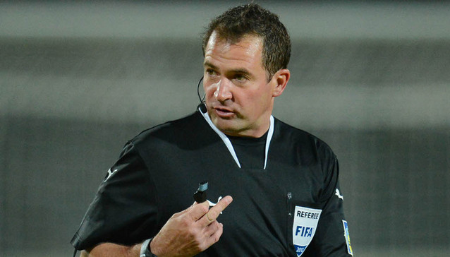 Match referee, Daniel Bennett during the 1st leg MTN 8 semi final between Mamelodi Sundowns and Moroka Swallows held at Lucas Moripe Stadium in Atteridgeville on the 18th August 2012 © Barry Aldworth/BackpagePix