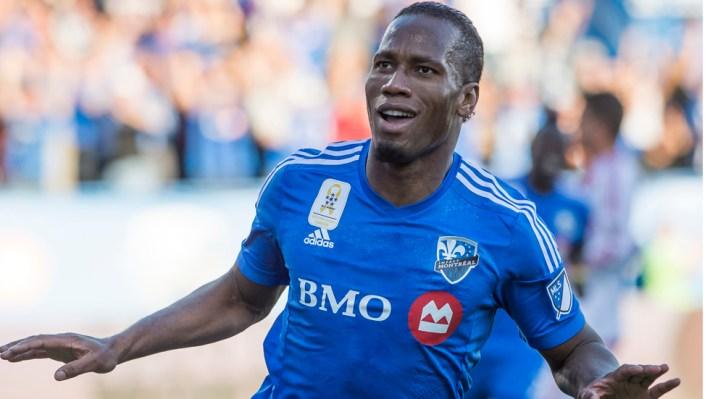 (11) Didier Drogba célèbre suite à un but lors du match de soccer en ligue MLS de l'Impact de Montréal affrontant le D.C. United au Stade Saputo, à Montréal en ce samedi 26 septembre 2015. JOEL LEMAY/AGENCE QMI