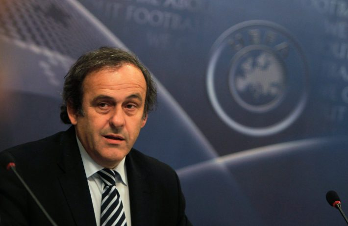 UEFA President Michel Platini looks on at the beginning of the UEFA Executive Committee meeting in Prague December 9, 2010. The main items on the Prague agenda include an update on the EURO 2012 soccer tournament preparations, and the program and agenda for the XXXV UEFA Ordinary Congress in Paris on March 22, 2011. REUTERS/Petr Josek (CZECH REPUBLIC - Tags: SPORT SOCCER)