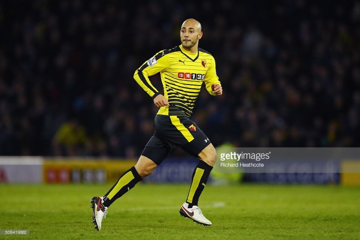 during the Barclays Premier League match between Watford and Newcastle United at Vicarage Road on January 23, 2016 in Watford, England