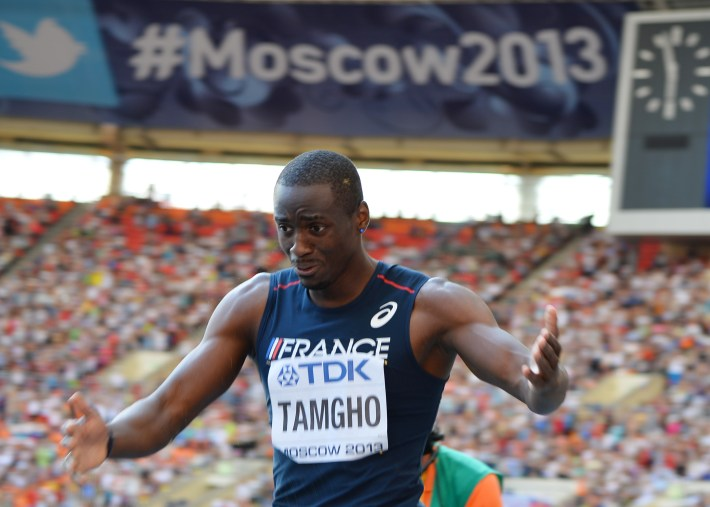 France's Teddy Tamgho reacts after winning the men's triple jump final at the 2013 IAAF World Championships at the Luzhniki stadium in Moscow on August 18, 2013.  AFP PHOTO / ANTONIN THUILLIER        (Photo credit should read ANTONIN THUILLIER/AFP/Getty Images)