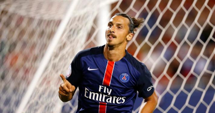 Football - Paris St Germain v Manchester United - International Champions Cup Pre Season Friendly Tournament - Soldier Field, Chicago, Illinois, United States of America - 30/7/15 Paris St Germain's Zlatan Ibrahimovic celebrates scoring a goal Action Images via Reuters / Jeff Haynes Livepic - RTX1MC6A