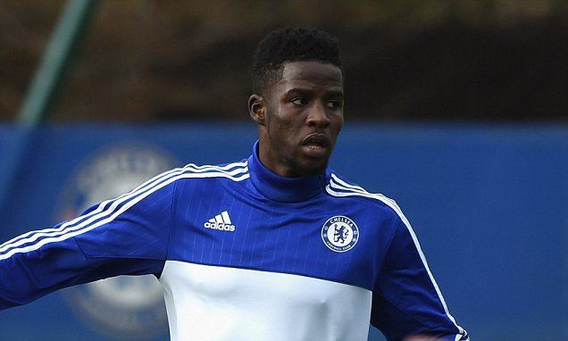 Chelsea's Papy Djilobodji during a training session at the Cobham Training Ground on 30th December 2015 in Cobham, England.