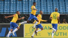 PRETORIA, SOUTH AFRICA - APRIL 17: Richard Henyekane and teammates celebrates his goal during the Absa Premiership match between Mamelodi Sundowns and University of Pretoria from Loftus Stadium on April 17, 2013 in Pretoria, South Africa. (Photo by Lefty Shivambu/Gallo Images)