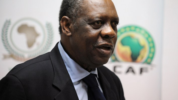 Confederation of African Football President Issa Hayatou looks on during a press conference dedicated to the giving of a $200,000 check by CAF to the African Union for their campaign against famine and hunger in Africa, in Libreville, on February 11, 2012. AFP PHOTO / PIUS UTOMI EKPEI (Photo credit should read PIUS UTOMI EKPEI/AFP/Getty Images)