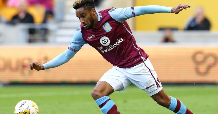 WOLVERHAMPTON, ENGLAND - JULY 28:  Jordan Amavi of Aston Villa runs with the ball during the pre season friendly between Wolverhampton Wanderers and Aston Villa at Molineux on July 28, 2015 in Wolverhampton, England.  (Photo by David Rogers/Getty Images)