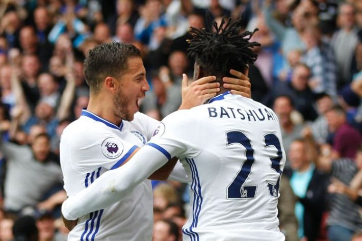 Chelsea's Belgian striker Michy Batshuayi (R) celebrates scoring an equalising goal to make the score 1-1 with Chelsea's Belgian midfielder Eden Hazard (L) during the English Premier League football match between Watford and Chelsea at Vicarage Road Stadium in Watford, north of London on August 20, 2016. / AFP / Ian Kington / RESTRICTED TO EDITORIAL USE. No use with unauthorized audio, video, data, fixture lists, club/league logos or 'live' services. Online in-match use limited to 75 images, no video emulation. No use in betting, games or single club/league/player publications.  /         (Photo credit should read IAN KINGTON/AFP/Getty Images)