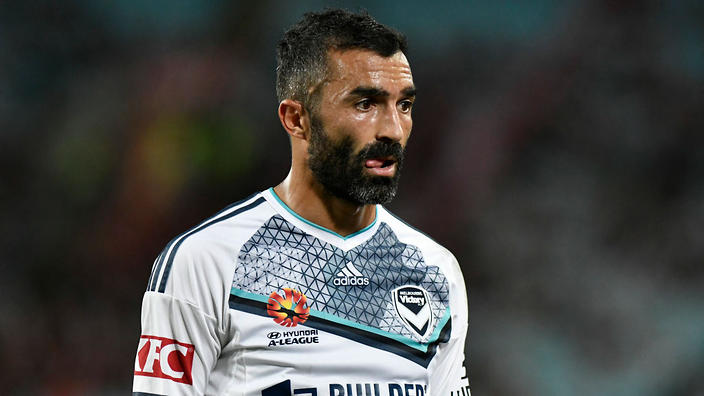 April 8th 2017, ANZ Stadium, Sydney, Australia; A-League football, Western Sydney Wanderers versus Melbourne Victory; Victory forward Fahid Ben Khalfallah; The match  ended in a 0-0 draw;  (Photo by Nigel Owen/Action Plus via Getty Images)
