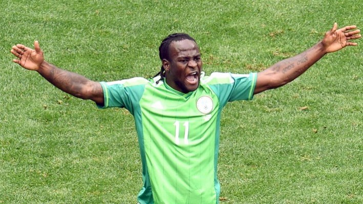 Nigeria's forward Victor Moses reacts during a Round of 16 football match between France and Nigeria at Mane Garrincha National Stadium in Brasilia during the 2014 FIFA World Cup on June 30, 2014. AFP PHOTO / EVARISTO SA