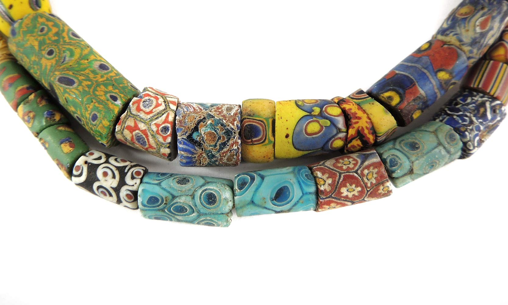 Millefiori Venetian Trade Beads Mixed Africa 28 Inches