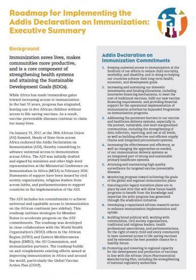 Roadmap for Implementing the Addis Declaration on Immunization