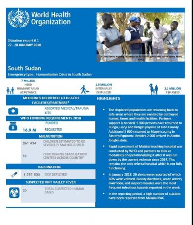 South Sudan Situation Reports WHO Regional Office for Africa