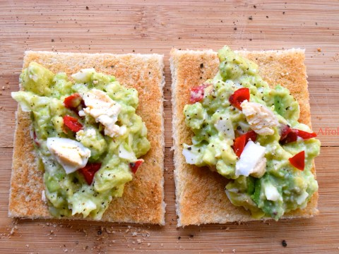 avocado egg salad on bread