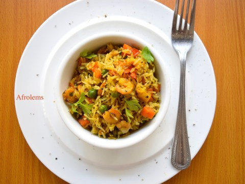 scent leaf fried rice with shrimp