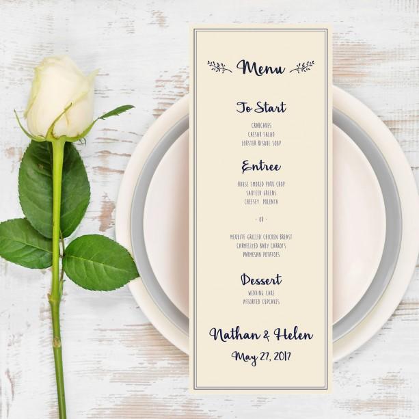 Wedding Menu, Navy and Coral Wedding Dinner Menu, Menu Card, Dinn