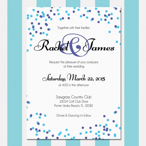 Polka Dot Wedding Invitation, Blue and Purple, Confetti Invitatio
