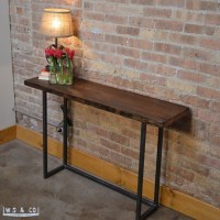 Metal And Wood Sofa Table Windham Solid Wood And Iron ...