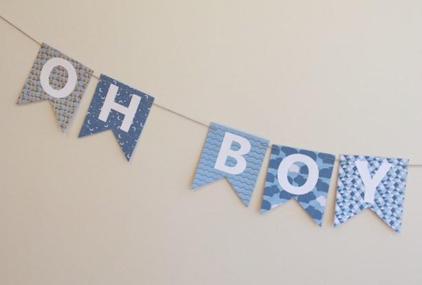Oh Boy Oh Boy Banner - Baby Shower Banner - Baby Shower Decoratio