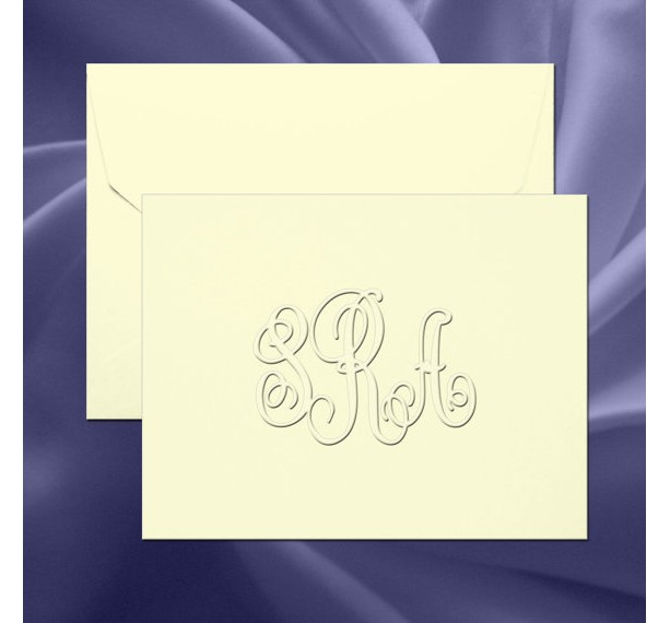 Traditional Monogram Embossed Folded Note Cards(RT07A) aftcra