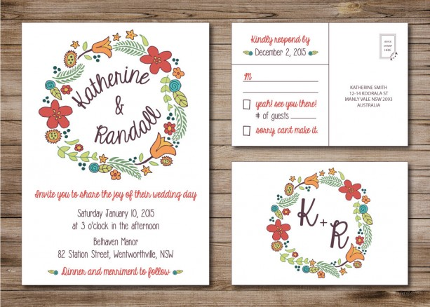 Modern Wedding Invitation and RSVP Postcard- Custom Design- Print