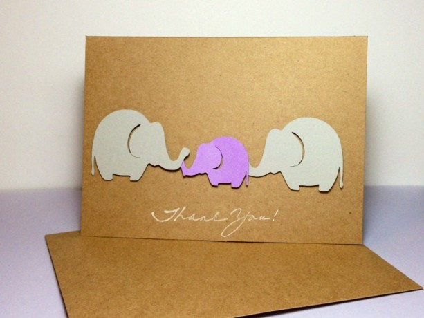 Baby Elephant Thank You Note Card Purple and Grey Elephants Eleph - purple note cards