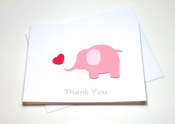 Pink Elephant Baby Shower Birthday Thank You Card Set, Elephant T