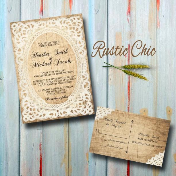 Custom Country Wedding Invitations with RSVP - Rustic Chic Weddin