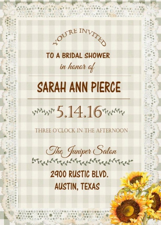 Rustic Sunflower Bridal Shower Invitations - Engagement Party Inv