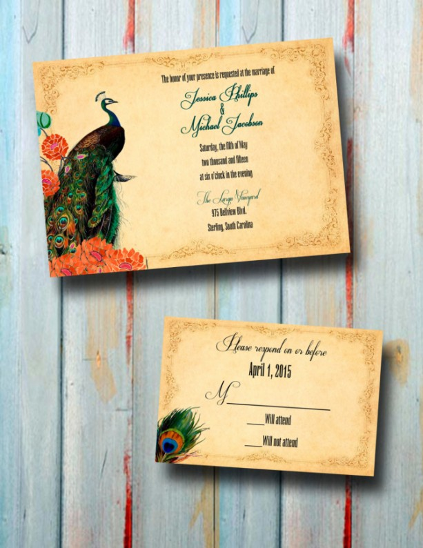 Custom Peacock Wedding Invitations with Rsvp - ANY COLOR - Peacoc
