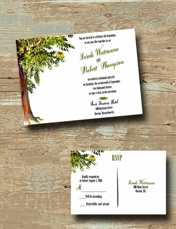 Custom Tree Wedding Invitations with RSVP - Love Bird Wedding Inv