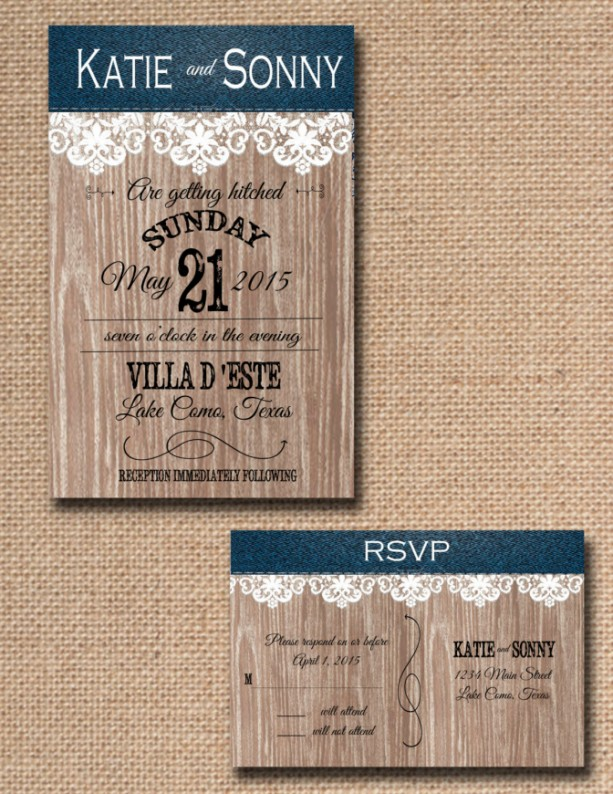 Custom Denim and Lace Country Wedding Invitations with RSVP count