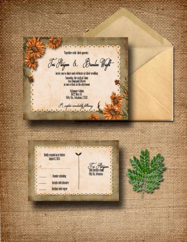 Custom Wildflower Wedding Invitation with RSVP - Country Wedding