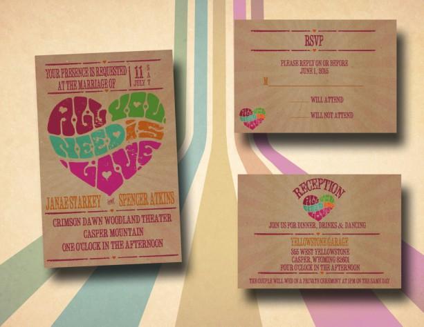 Custom Retro Wedding Invitations with RSVP - Retro Poster - All y