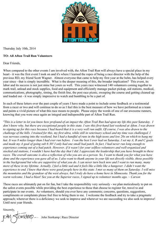 2014 Volunteer Thank You! Afton Trail Run - volunteer thank you letter