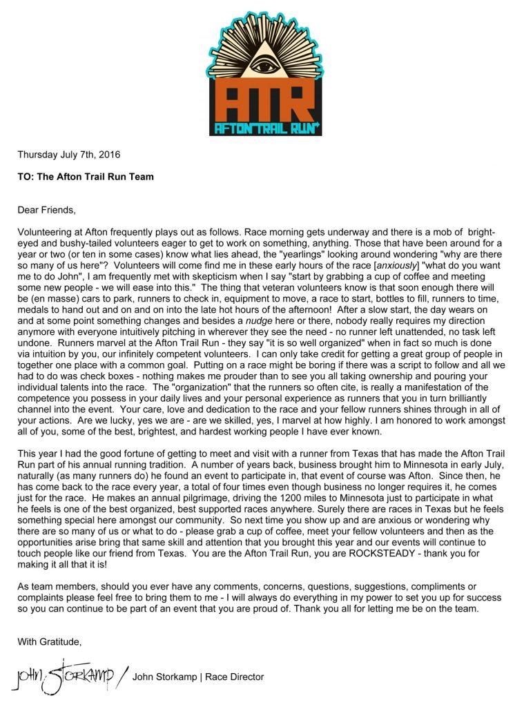 2016 Volunteer Thank You Afton Trail Run - volunteer thank you letter