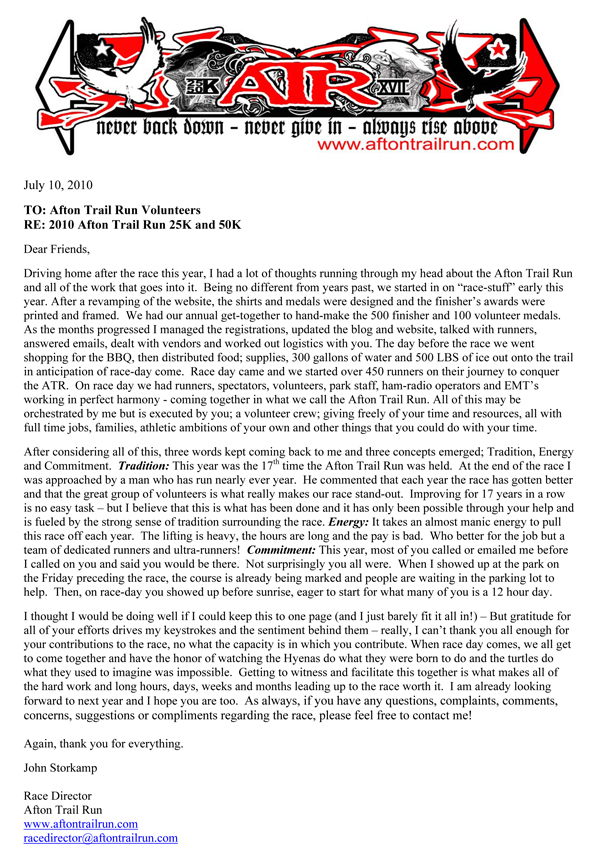 2010 Volunteer Thank You! Afton Trail Run