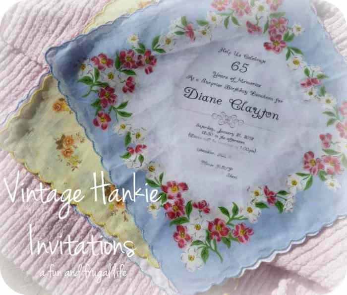 Vintage Hankie Invitations from A Fun and Frugal Life