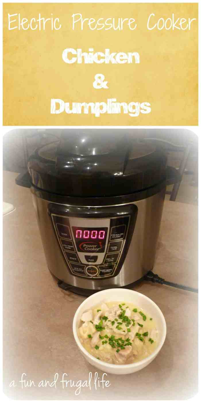 Electric Pressure Cooker - Chicken & Dumplings from A Fun and Frugal Life