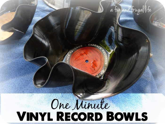 One minute vinyl record bowls from A Fun and Frugal Life