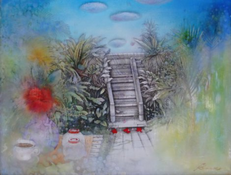 予感の森に旅してⅠ - Hibiscus Cottage(ガラスにミクスドメディア 6号)